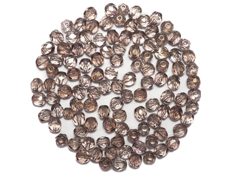 Crystal French Rose Luster Fully coated, Czech Fire Polished Round Faceted Glass Beads, 6mm 60pcs, P498
