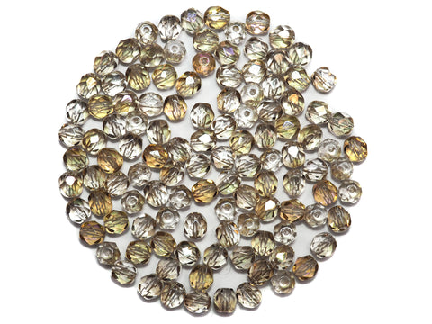 Crystal Golden Luster coated, Czech Fire Polished Round Faceted Glass Beads, 6mm 60pcs, P499