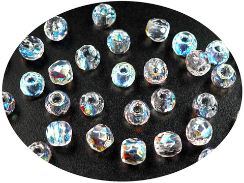 Czech Glass LARGE HOLE Tire Spacer Beads 8x6mm clear Crystal P444 40 pieces