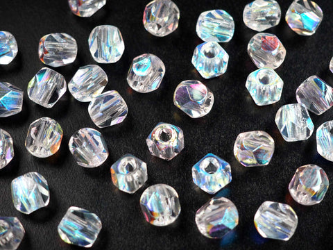 Czech Glass LARGE HOLE Faceted Beads 10mm Crystal AB coated, 40 pieces, P502