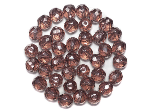 French Rose Silver Luster Fully Coated, Czech Fire Polished Round Faceted Glass Beads, 10mm 24pcs, P504