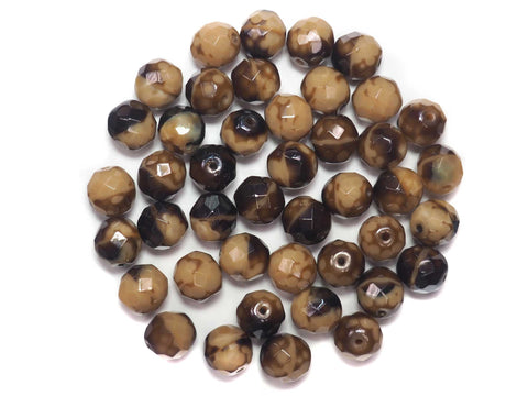 Brown Cuba Givre 2-tone combination, Czech Fire Polished Round Faceted Glass Beads, 10mm 24pcs, P506