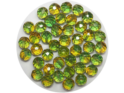 Yellow and Green Blend, 2-tone combination, Czech Fire Polished Round Faceted Glass Beads, 10mm 24pcs, P507