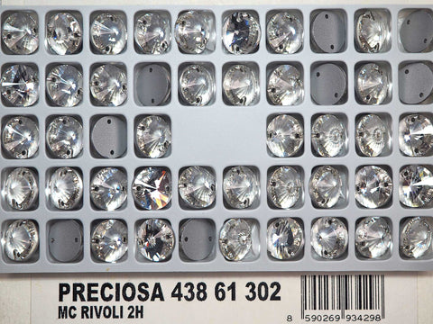 Crystal clear, Preciosa Czech MC RIVOLI Flatback 2-hole Sew-on Stones Style #438-61-302 Silver Foiled, sizes 10mm and 12mm