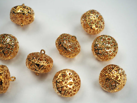12 Flattened Gold Plated Filigree Balls with 2 Loops, 10x14mm, P537
