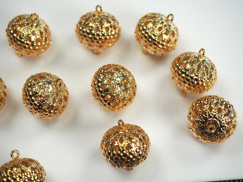 12 Gold Plated Filigree Balls with 2 Loops, 14x17mm, P539