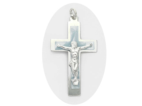 Rosary Crucifix ~ Aluminum with Blue Pearl Cross for Rosaries, made in Italy or Czech, P543