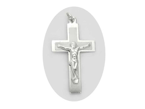 Rosary Crucifix ~ Aluminum with White Pearl Cross for Rosaries, made in Italy or Czech, P544