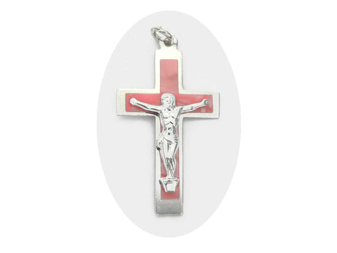 Rosary Crucifix ~ Aluminum with Pink Pearl Cross for Rosaries, made in Italy or Czech, P545