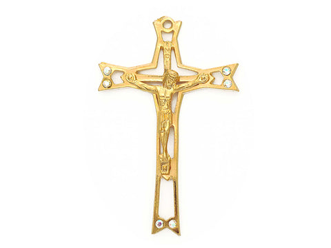 Rosary Crucifix ~ Gold Plated Cross for Rosaries, made in Italy or Czech, P562