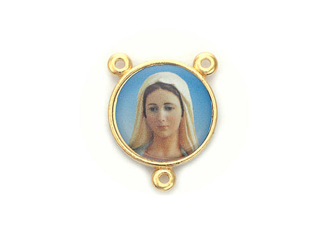 Rosary Centerpiece ~ Enamel and Gold Plated Center for Rosaries, made in Italy, P568