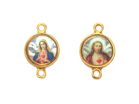 Rosary Centerpiece ~ Enamel and Gold Plated Center for Rosaries, made in Italy, P569