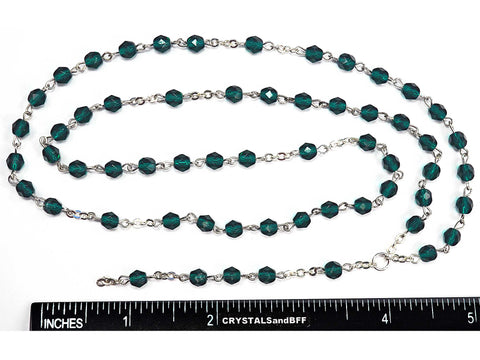 Rosary Chain, 5mm Fire Polished Emerald Beads, Silver Plated, Chain and Tail, P570