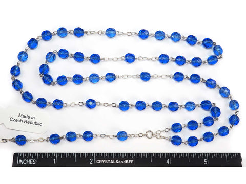 Rosary Chain, 7mm Fire Polished Sapphire Beads, Silver Plated, Chain and Tail, P572