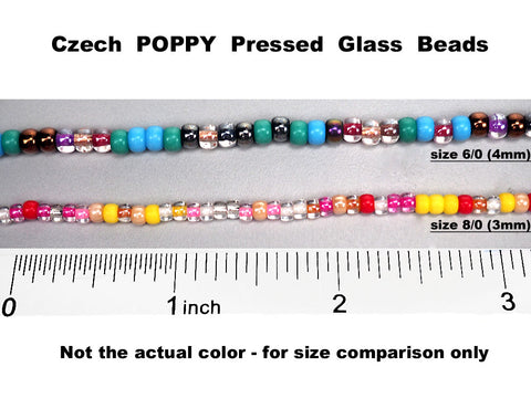 'Czech Round Smooth Pressed POPPY Glass Beads in Jet Hematite color, 2x3mm (size 8/0), 3x4mm (size 6/0) Druk Bead