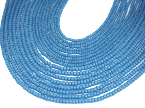 'Czech Round Smooth Pressed POPPY Glass Beads in Blue Turquoise colored, 2x3mm (size 8/0), 3x4mm (size 6/0) Druk Bead