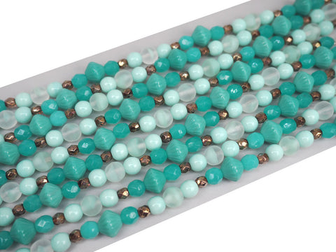 "'Mix of Green Pastel Czech Glass Druk beads, 7"" strand, P770"