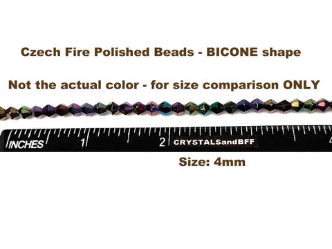 Czech Glass Bicone Shaped Fire Polished Beads 4mm Rosaline AB, 98 pieces, P773