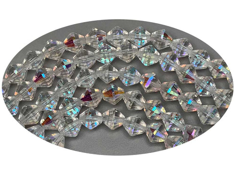 Czech Glass Bicone Shaped Fire Polished Beads 8mm Crystal AB, 50 pieces, P783