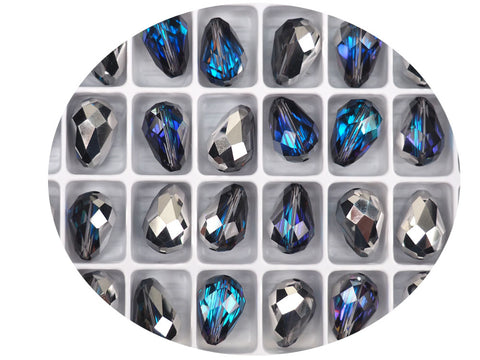 Crystal Bermuda Blue, Preciosa Czech Machine Cut Pear Crystal Beads, tear drop shape in size 15x10mm, 12 pieces
