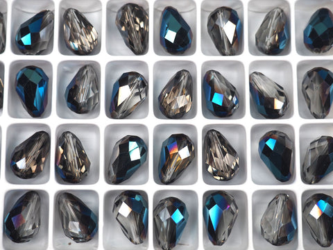 Crystal Blue Flare, Preciosa Czech Machine Cut Pear Crystal Beads, tear drop shape in size 15x10mm, 12 pieces