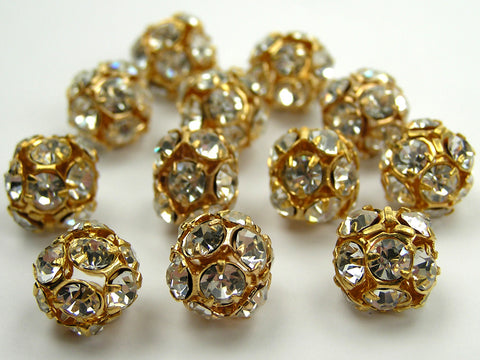 12 Preciosa Czech Rhinestone Round Bead Balls 12mm Crystal, Gold Plated