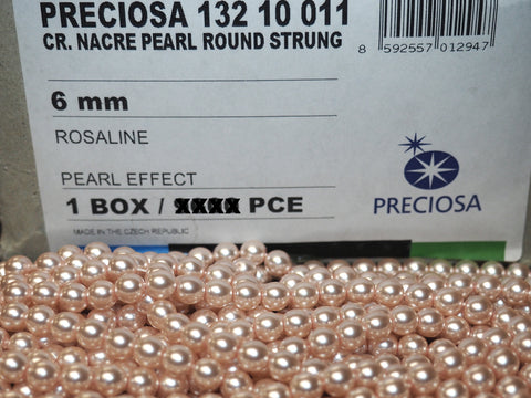 Czech Round Glass Imitation Pearls, Rosaline pink Pearl color, Preciosa Nacre Pearls size 6mm, 1200 beads