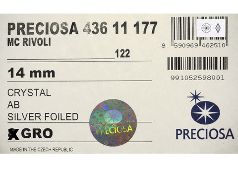 Crystal AB, Preciosa Czech MC Rivoli Stones in size 14mm, 12 pieces, Clear coated with Aurora Borealis, Foiled