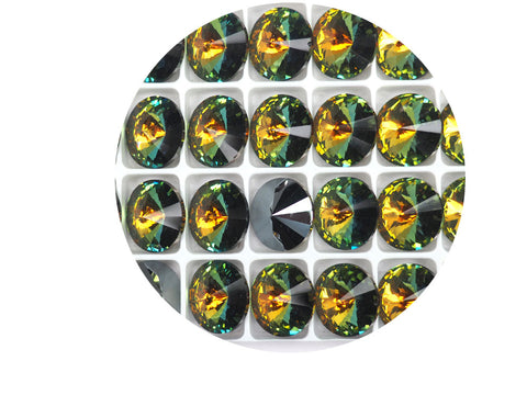 Crystal Sahara, Preciosa Czech MC Rivoli Stones in size 16mm, 12 pieces, Clear multi yellow and green coated