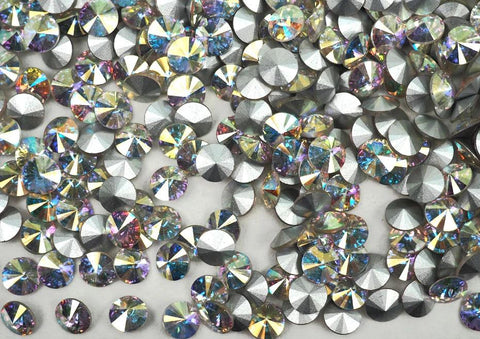 Crystal AB, Preciosa Czech MC Rivoli Stones in size 8mm, ss39, 36 pieces, Clear coated with Aurora Borealis, Silver Foiled
