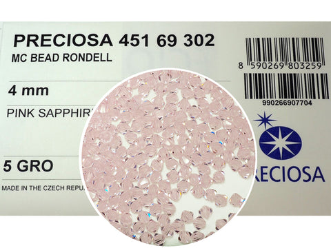 Pink Sapphire, Czech Glass Beads, Machine Cut Bicones (MC Rondell, Diamond Shape), light pink crystals
