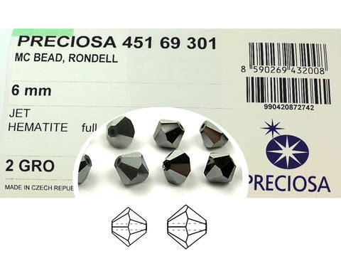 Jet Hematite Full, Czech Glass Beads, Machine Cut Bicones (MC Rondell, Diamond Shape), jet black crystals fully coated with silver hematite metallic