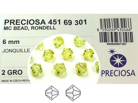Jonquil, Czech Glass Beads, Machine Cut Bicones (MC Rondell, Diamond Shape), light yellow jonquille crystals