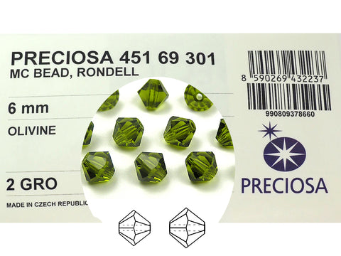 Olivine, Czech Glass Beads, Machine Cut Bicones (MC Rondell, Diamond Shape), olive green crystals