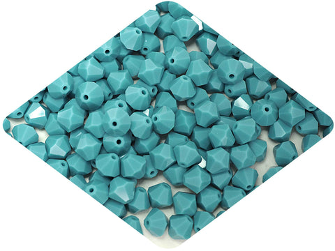 Turquoise (Preciosa), Czech Glass Beads, Machine Cut Bicones (MC Rondell, Diamond Shape), turquoise opaque crystals