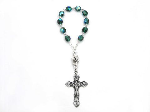 12 fine quality Czech Finger Auto Rosaries Fire Polished Emerald AB, rosary