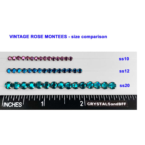 Vintage Swarovski Rose Montees, Blue Zircon, Silver Plated, in sizes 10ss, 12ss, 20ss, rosemontee