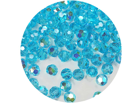 Aqua Bohemica AB, Czech Machine Cut Round Crystal Beads, 7mm Rosary size, 144 pieces
