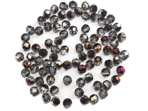 Crystal Zairite coated, Czech Machine Cut Round Crystal Beads