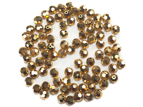Crystal Aurum Fully Gold coated, Czech Machine Cut Round Crystal Beads
