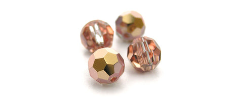 Crystal Capri Gold Half coated, Czech Machine Cut Round Crystal Beads