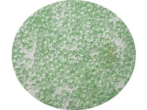 Crystal Light Green coated, Czech Machine Cut Round Crystal Beads