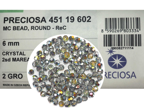 Crystal Marea 2-side coated, Czech Machine Cut Round Crystal Beads (Marea 2sd)