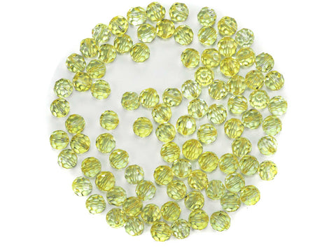 Crystal Medium Yellow coated, Czech Machine Cut Round Crystal Beads