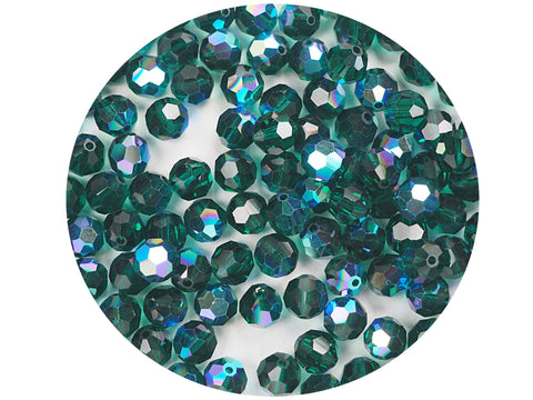 Emerald AB, Czech Machine Cut Round Crystal Beads, 7mm Rosary size, 144 pieces