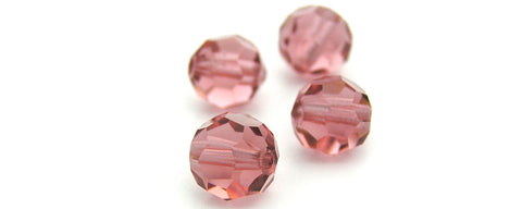 French Rose, Czech Machine Cut Round Crystal Beads