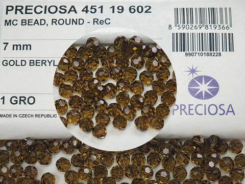 Gold Beryl (brown khaki), Czech Machine Cut Round Crystal Beads, 7mm Rosary size, 144 pieces