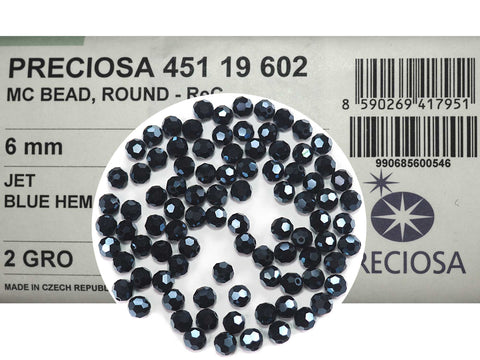 Jet Blue Hematite fully coated, Czech Machine Cut Round Crystal Beads