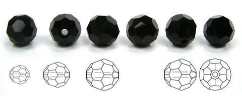 Jet black, Czech Machine Cut Round Crystal Beads