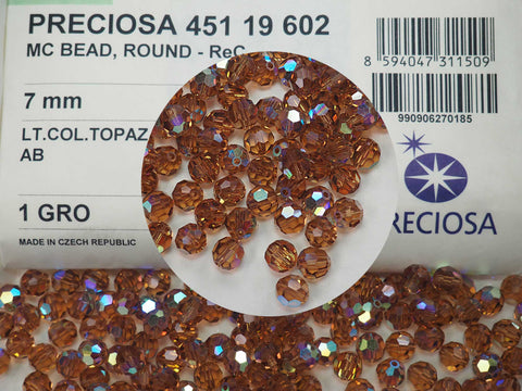 Light Colorado Topaz AB coated, Czech Machine Cut Round Crystal Beads, 7mm Rosary size, 144 pieces